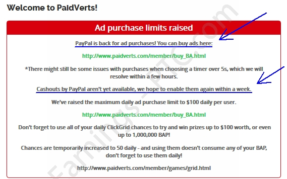paidverts paypal is back